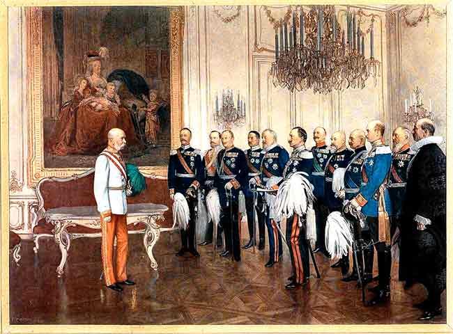 El Emperador de Austria Francisco José con los Príncipes alemanes
