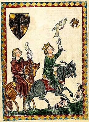 Cacería medieval con halcones