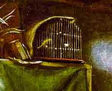 un canario mira la escena desde su jaula.
