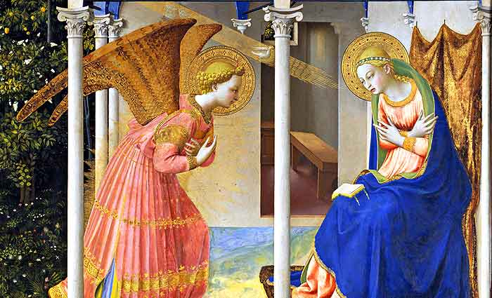 Fra Angélico supo estampar en este cuadro lo que la piedad de los fieles esperan de la representación de la Anunciación