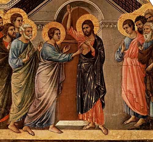 Santo Tomás al meter el dedo en la llaga de Nuestro Señor comprobó la Resurrección