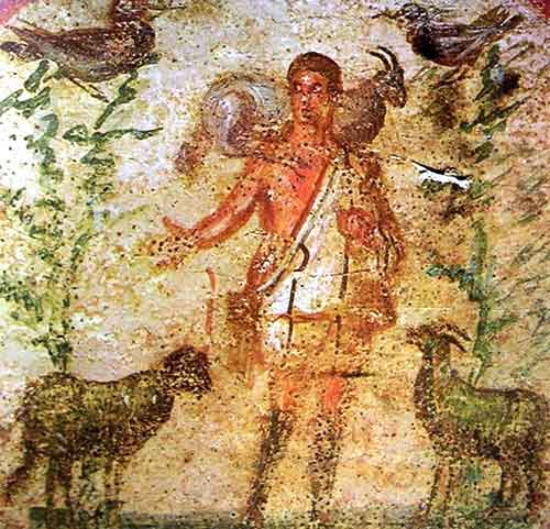 El Buen Pastor, Primitiva iconografía cristiana: imagen de Jesús hallada en las catacumbas romanas