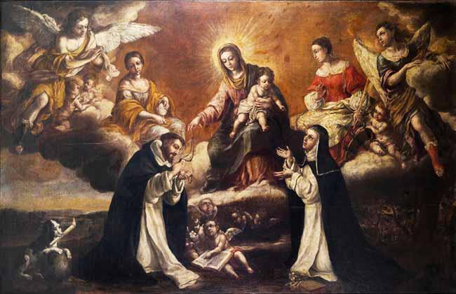 María Santísima con Santo Domingo y Santa Catalina de Siena