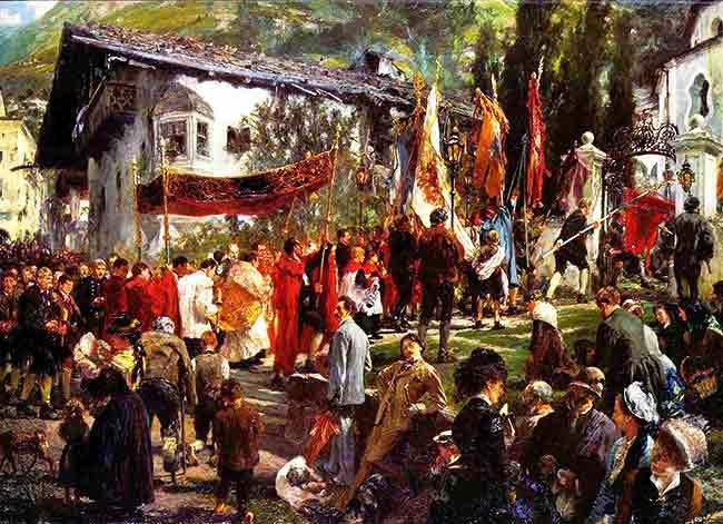 Las procesiones eran frecuentes y daban brillo a la vida