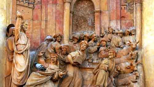 Jesús expulsa a los mercaderes del Templo -  Puerta del Perdón, en la Catedral de Sevilla