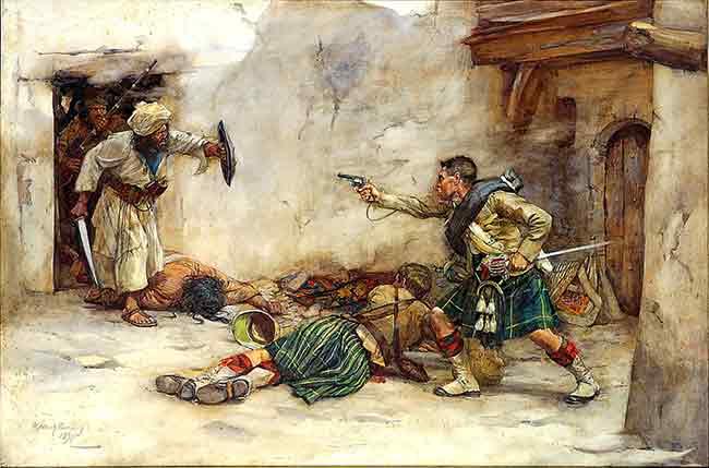 El tambor, James Roddick, de la 92.ª Gordon Highlanders defendiendo al Teniente Menzies durante la lucha cuerpo a cuerpo en la batalla de Kandahar, 1880. Por William Skeoch Cumming.