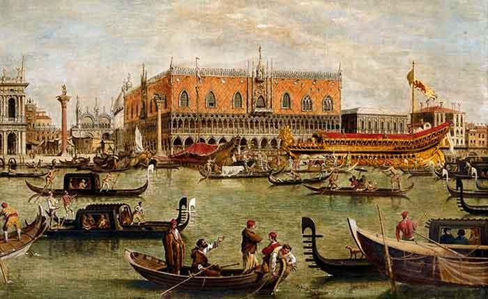 La salida del Bucintoro hacia el matrimonio de Venecia con el mar.