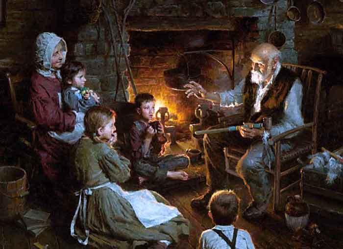 El abuelo contando historias y los niños absortos