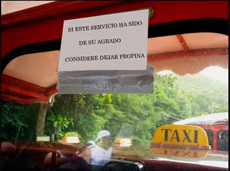 La propina en un taxi