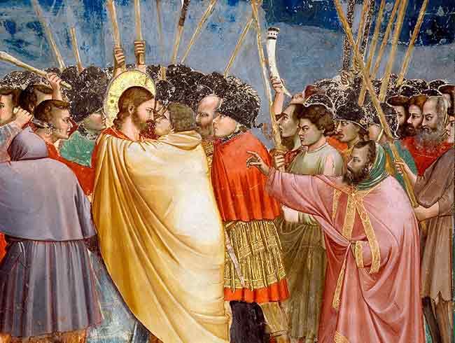 Nuestro Señor Jesucristo reprende a Judas:  Judas, ¿con un beso traicionas al Hijo del Hombre?